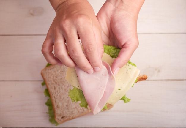 Moeder maakt sandwich met ham en kaas voor school ontbijt