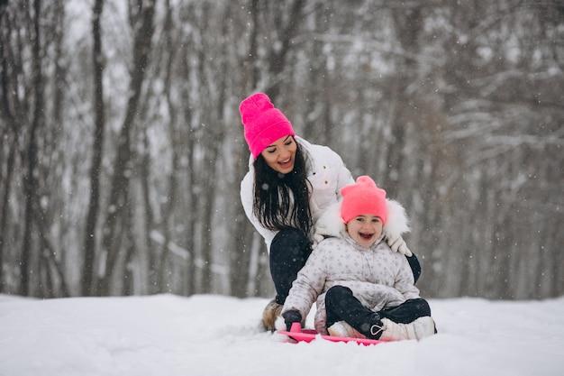 Moeder met dochter die op plaat in de winterpark berijdt