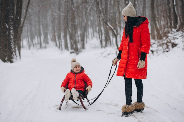 Moeder met dochter in de sledging van het de winterpark