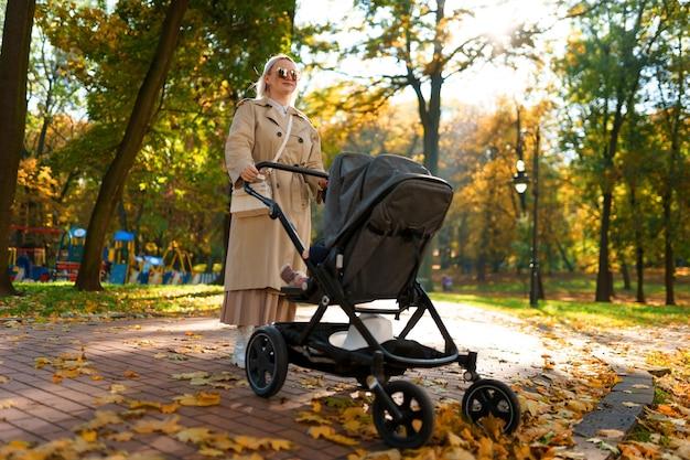 Moeder met kinderwagen loopt in het park