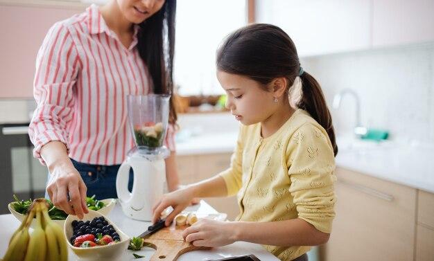 Moeder met kleine dochter binnenshuis, die gezonde fruitsmoothie-drank bereidt.