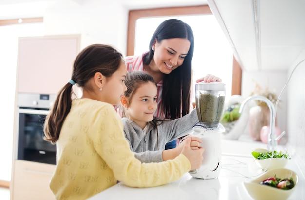 Moeder met meisjes binnenshuis, die een gezond fruitsmoothiedrankje bereidt.