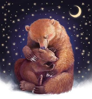 Moederbeer knuffelt de berenwelp. realistische gekleurde handtekening. illustratie met sterren over moederschap. moederdag.