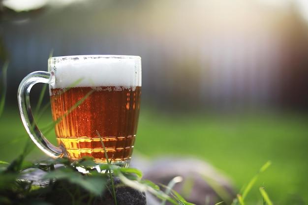 Mok bier op het gras