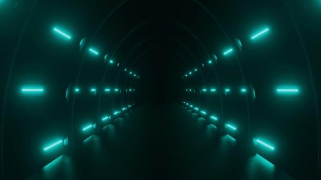 Moke up 3d-rendering van neonlichten tegen de donkere tunnel glow laser lijn neon achtergrond