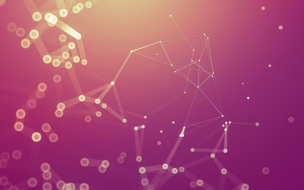 Moleculen met veelhoekige vormen, verbindende stippen en lijnen