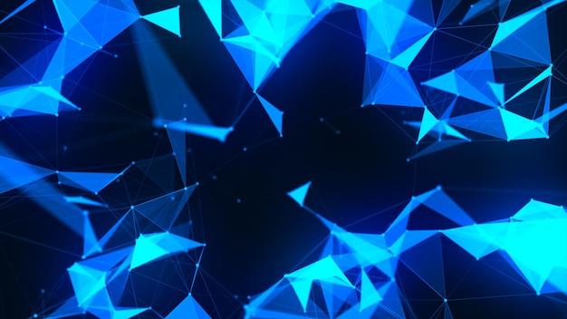 Moleculentechnologie met veelhoekige vormen op donkerblauw