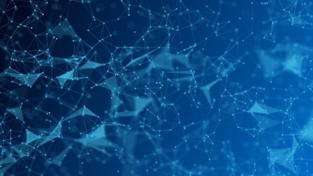 Moleculentechnologie met veelhoekige vormen op een donkerblauwe achtergrond