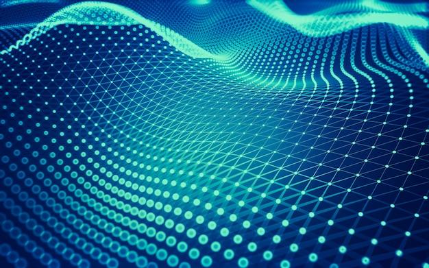 Molecuultechnologie met veelhoekige vormen, verbindende punten en lijnen.