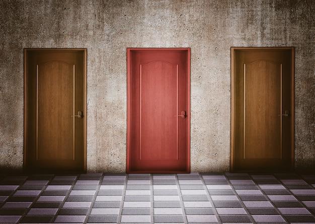 Moment van twijfel bij het kiezen van een deur. bedrijfsconcept en slimme keuzes