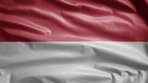 Monacan vlag zwaaien in de wind. close up van monaco banner waait en gladde zijde