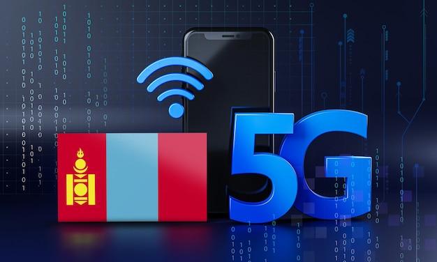 Mongolië klaar voor 5g-verbindingsconcept. 3d-rendering smartphone technische achtergrond