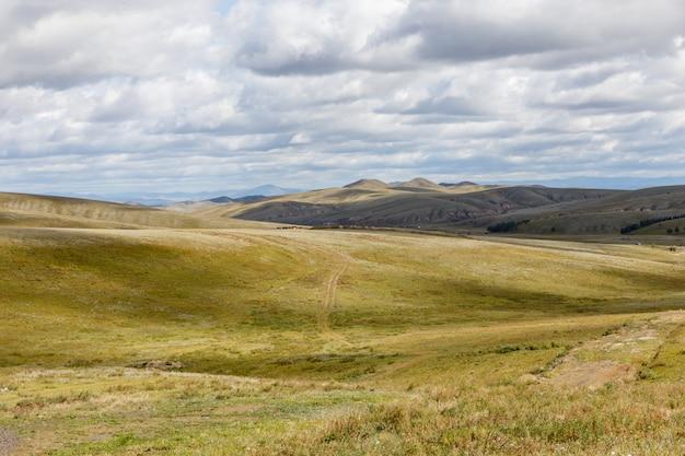 Mongoolse steppe op een bewolkte hemelachtergrond