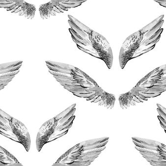 Monochroom aquarel engel