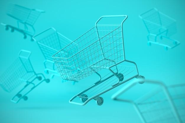 Monokleur concept winkelwagentje trolley op blauwe mariene achtergrond met wat kopie ruimte. 3d-afbeelding