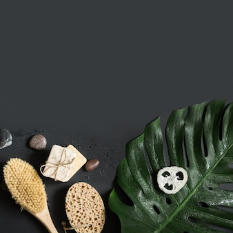 Monstera blad, borstel, spa-set voor cellulitis massage en wellness