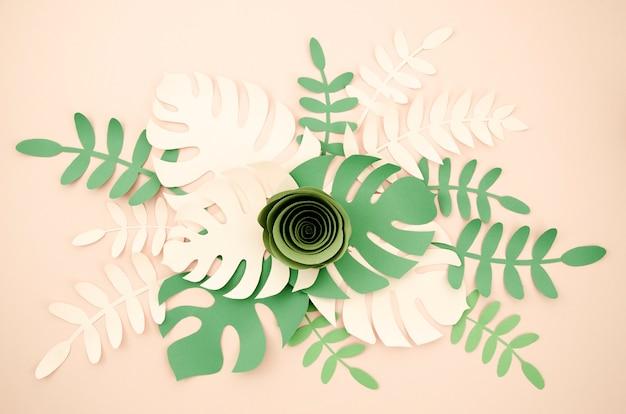 Monstera-bladeren met groene roos