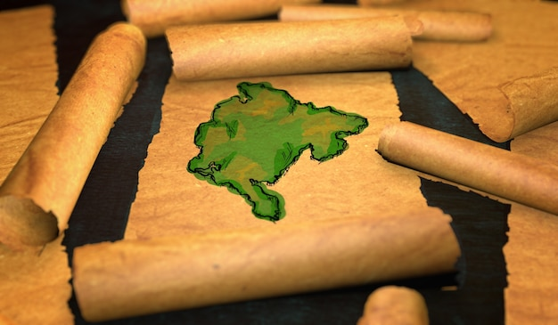 Montenegro kaart schilderen uitvouwen oude document scroll 3d