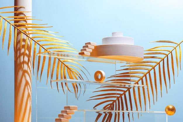 Monumentale compositie met catwalks, trappen, palmbladeren en geometrische vormen