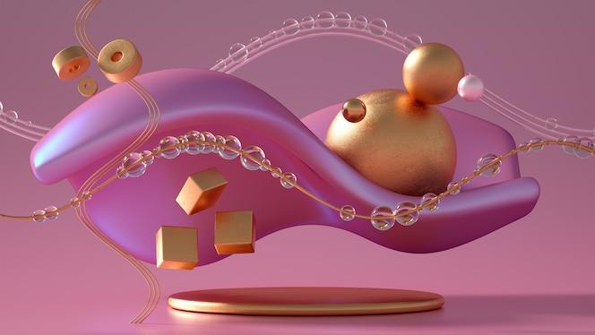 Mooi abstractie achtergrondminimalisme. 3d illustratie, 3d-rendering.