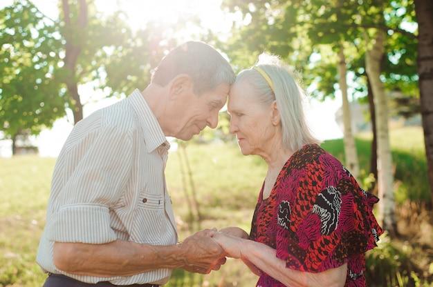 Mooi bejaard echtpaar in een zomer park