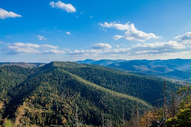Mooi berglandschap, met bergtoppen bedekt met bos en een bewolkte hemel