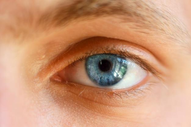 Mooi blauw oogclose-up, heldere ogen