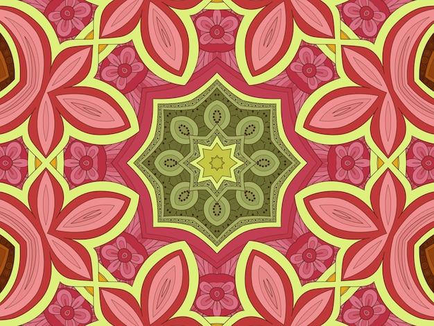 Mooi bloemenpatroon, bloemillustratie, geometrische tegel van geelgroene roze tinten, bloemenachtergrond