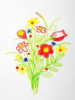 Mooi boeket van bloementekeningen