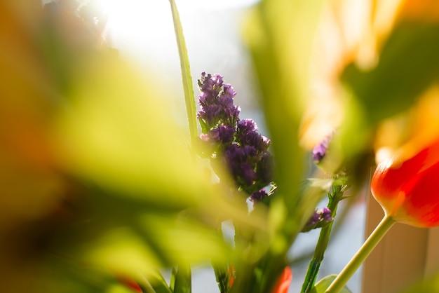 Mooi boeket van lentebloemen, selectieve aandacht. tulpen, lelie, lila veldplant. vervaging, bokeh
