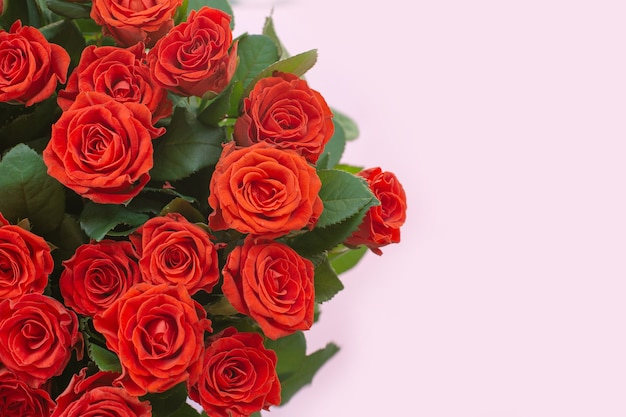 Mooi boeket van rode rozen op lichte achtergrond