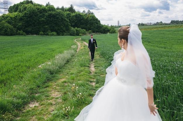 Mooi bruidspaar loopt op het groene veld