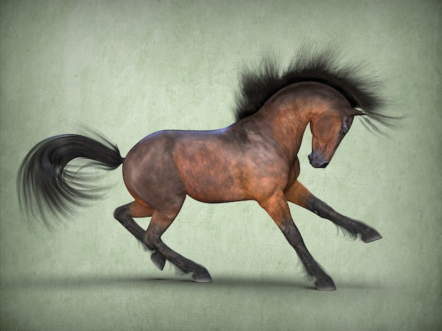 Mooi bruin paard 3d-rendering