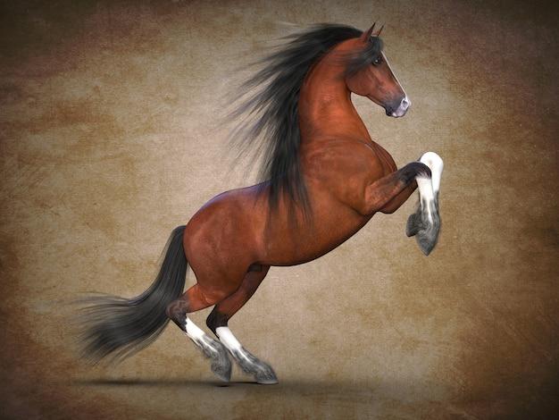 Mooi bruin paard 3d-visualisatie