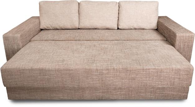 Mooi comfortabel en gemak van opvouwbare slaapbank het beeld geïsoleerd