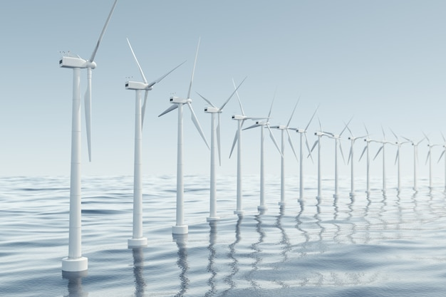Mooi de windturbines in zee, oceaan. schone energie, windenergie, ecologisch concept. 3d-weergave