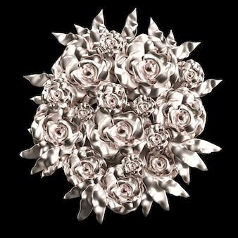 Mooi element, goud, roos, stucwerk, ornament, lijst. 3d-afbeelding, 3d-rendering.