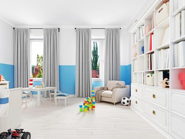 Mooi en schattig speelgoed in de kinderkamer. 3d-rendering