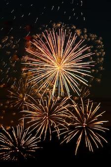 Mooi feestelijk vuurwerk in de nachtelijke hemel.