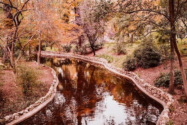 Mooi herfst landschap. stedelijk park en rivier