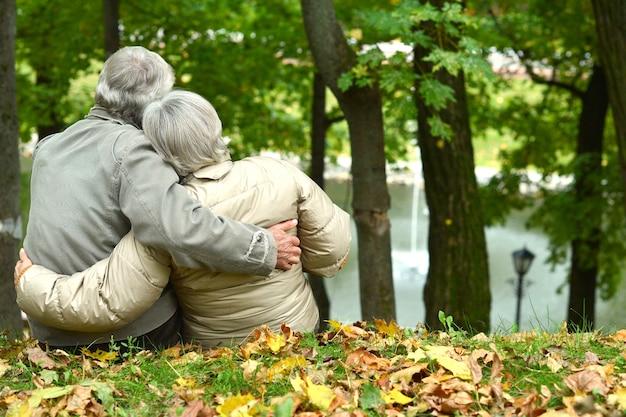 Mooi kaukasisch bejaarde echtpaar in het park in de herfst