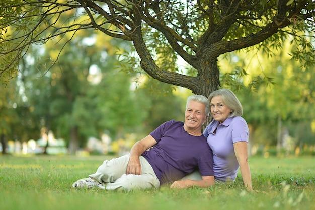 Mooi kaukasisch bejaarde echtpaar in het park
