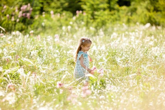 Mooi klein meisje loopt in een weiland met wilde bloemen in de verte