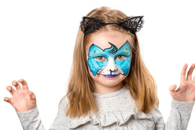 Mooi klein meisje met facepainting