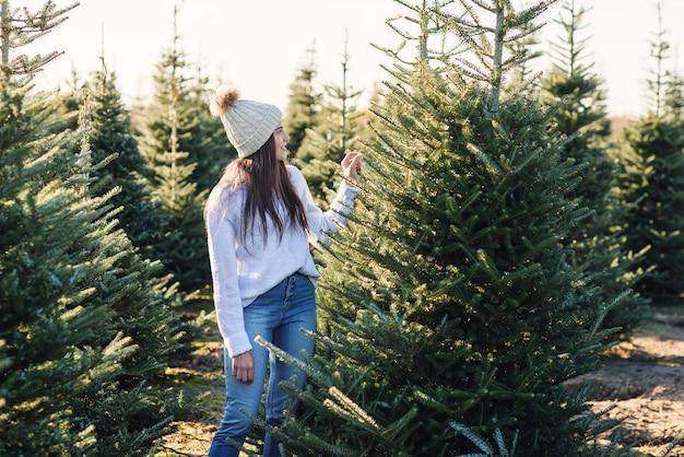 Mooi lachende meisje kiest een dennenboom op tuincentrum buiten voor wintervakantie.