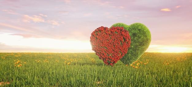 Mooi landschap met twee harten in het veld, love cooncept. 3d-weergave