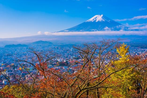 Mooi landschap van berg fuji rond de boom van het esdoornblad in de herfstseizoen