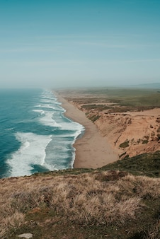 Mooi landschap van een point reyes national seashore in inverness, vs.