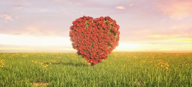 Mooi landschap van een veld met het hart van rozen onder de hemel, 3d-rendering