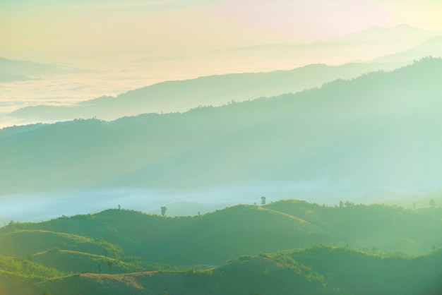 Mooi landschap van groene bergketen met mist in ochtend